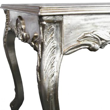 Dining table in solid wood baroque style furniture in silver – image 2