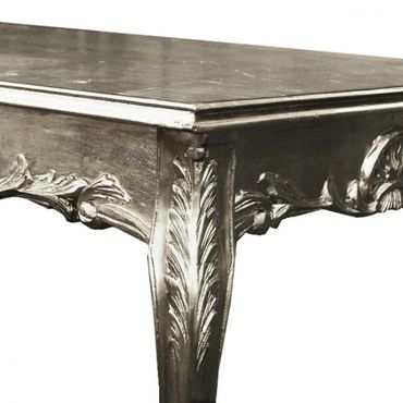 Dining table in solid wood baroque style furniture in silver – image 4