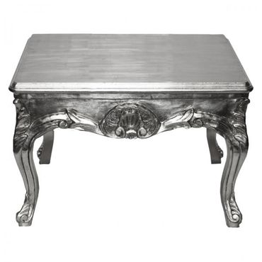 Coffee table silver gilded baroque side table in square shape – image 2