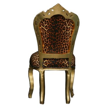 Salon Chair gold-leafed frame Leopard / African design – image 4