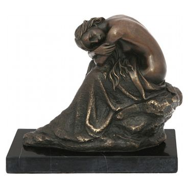 Bronze figure of a lonely woman on rock with marble base – image 1