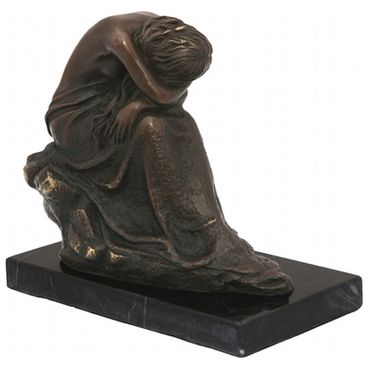 Bronze figure of a lonely woman on rock with marble base – image 3