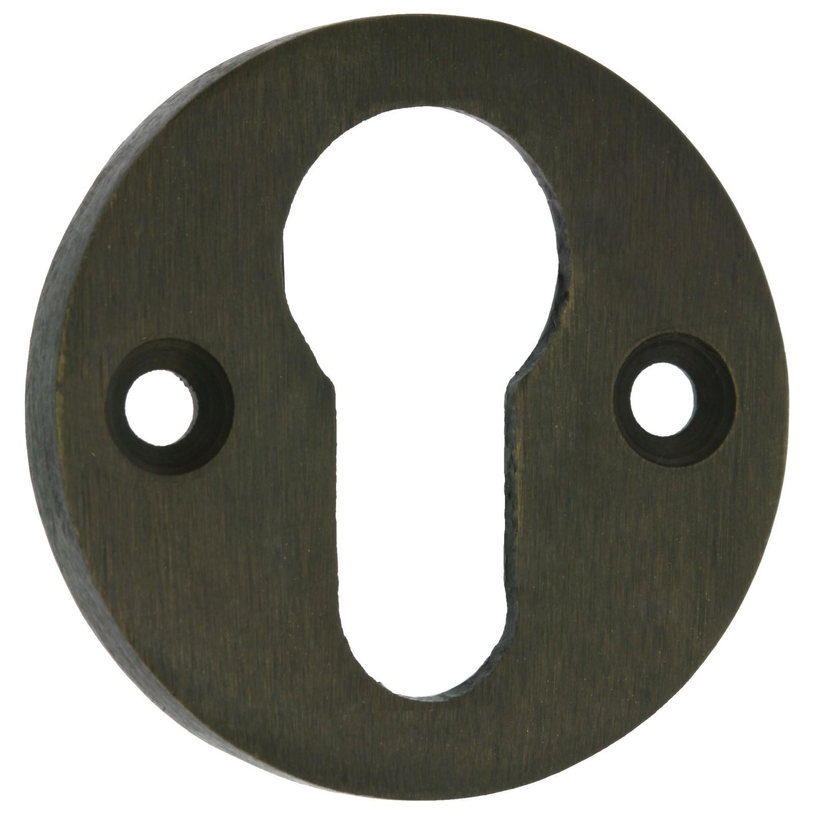 schl ssel profilzylinder rosette rund einzeln messing patiniert t ren beschlag. Black Bedroom Furniture Sets. Home Design Ideas