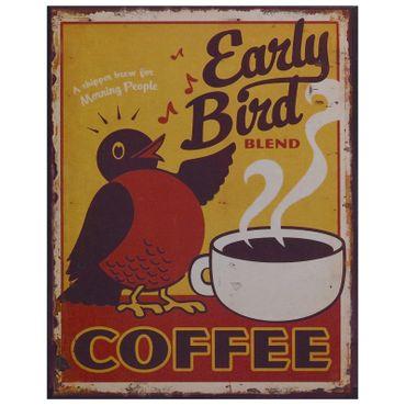 Early Bird tin sign blend coffee vintage decoration cafe bistro nostalgic