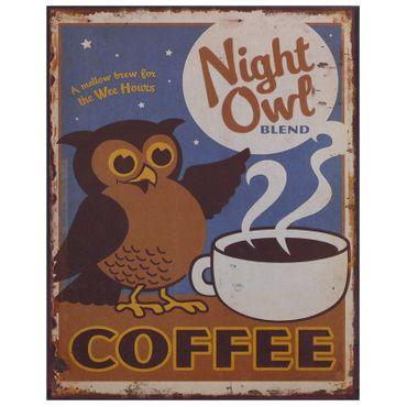 Tin sign coffee night owl retro coffee advertisement kitchen 9.8x7.9in