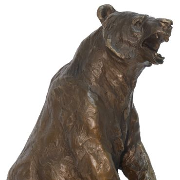 Bronze figurine bear brown bear standing animal sculpture figure statue Nature 35.5cm/ 13,97 inches – image 2