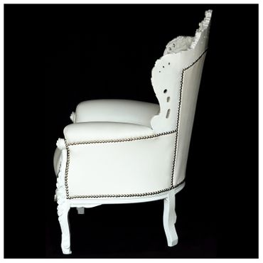 Throne style chairs wood white synthetic leather – image 4