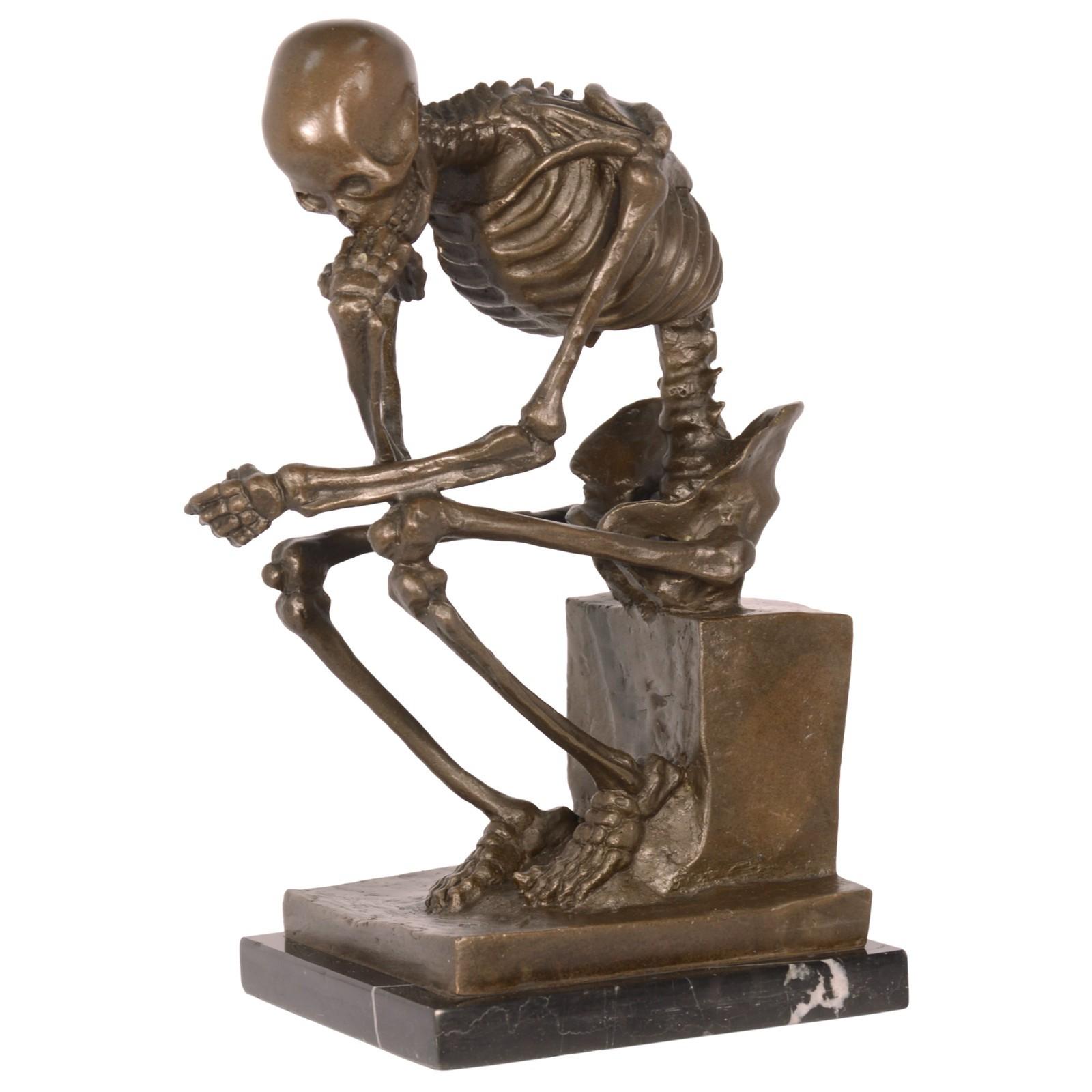 Skelett Bronzefigur Art Skulptur 24cm Marmorplatte Neuinterpretation ...