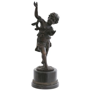 Dancing can the child Bronze statue sculpture work of art antique decoration – image 4