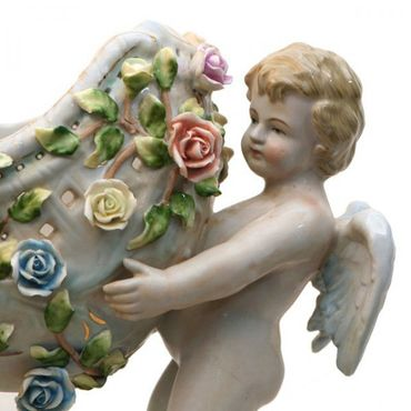 Boat porcelain 2 angel carrying white hand painted roses – image 5