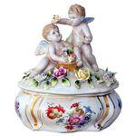 Porzellandose Schmuckschatulle Schmuckdose Nostalgie Stil Blume Engel Porzellan 001