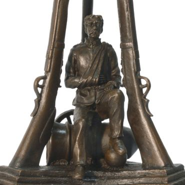 Bronze memorial Candle stand sculpture of war veterans  – image 3