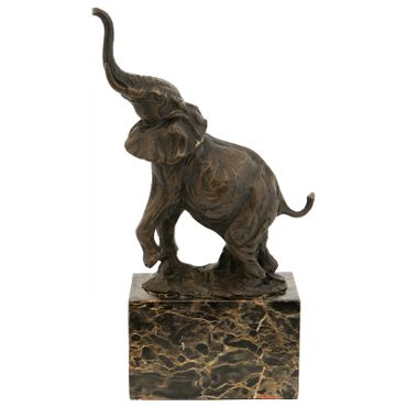 African elephant bronze statue elephant trumpeted in pose deco sculpture animal – image 1
