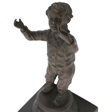 Young boy bronze sculpture toddler with bird timeless bronze statue art – image 5