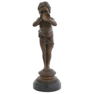 Trumpeter boy bronze figure sculpture artist child blowing trumpet work of art deco – image 4