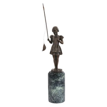 Angel fish girl bronze statue Dirndl Madel at catching fish sculpture – image 1