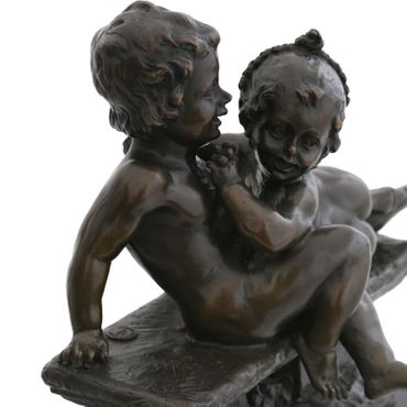 Children bronze sculpture artist boy playing with girl on bench Statue – image 5