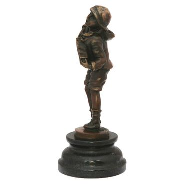 Accordion Harmonica player character bronze sculpture music – image 5