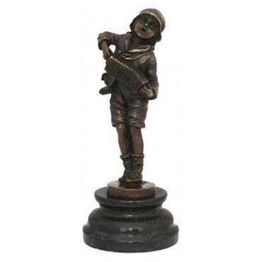 Accordion Harmonica player character bronze sculpture music – image 1