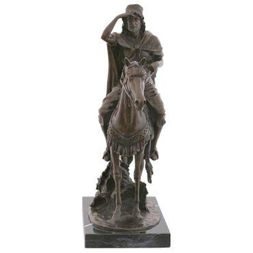 Arab horseman horse bronze sculpture man rides through the desert Deco Figurine – image 2