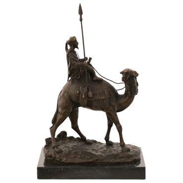 Arab Bedouin on camel bronze sculpture bronze statue warrior with spear – image 1