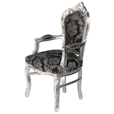 Armchair dining room black glitter fabric frame silver Antique Baroque – image 2