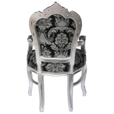 Armchair dining room black glitter fabric frame silver Antique Baroque – image 4
