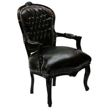 Baroque Salon Chair Armchair Armchair black leatherette black wooden frame – image 2