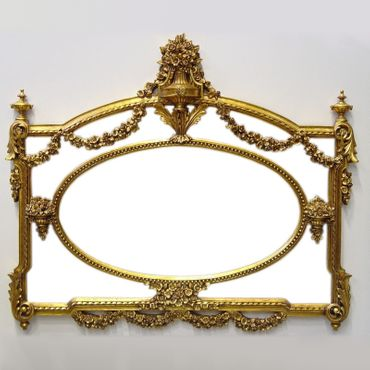 Baroque style wall mirror antique gold color nostalgia vintage style flower garland