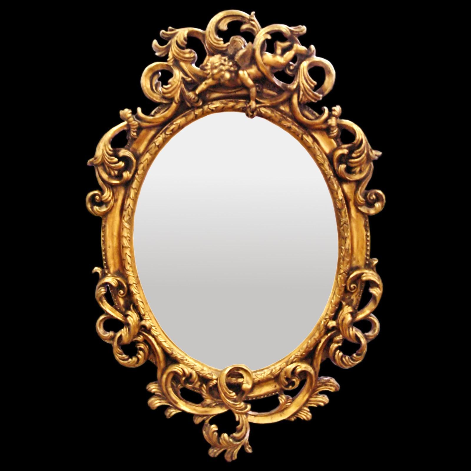 Fresh Bathroom mirror oval wall mirror Baroque de Luxe gold acanthus  DQ99