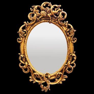 Bathroom mirror oval wall mirror Baroque de Luxe gold acanthus leaf motif Angels
