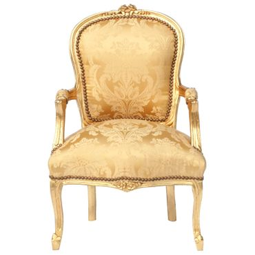 Baroque Armchair GOLDI - Gold Flower Pattern & Wood Frame – image 1