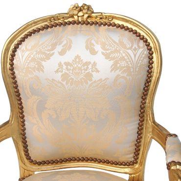 Salonstuhl Armlehner Barock Goldsilber Blumenmusterstoff Retro Barockstuhl Gold – Bild 5