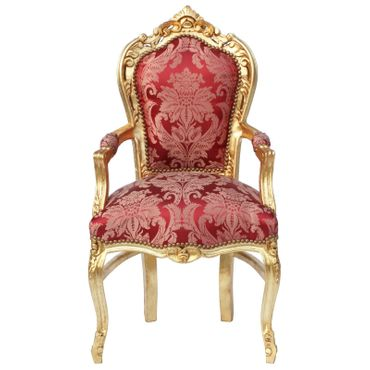 Baroque Style Dining Room Chair Armrest Gold wood Frame Two Tone Red Fabric – image 1