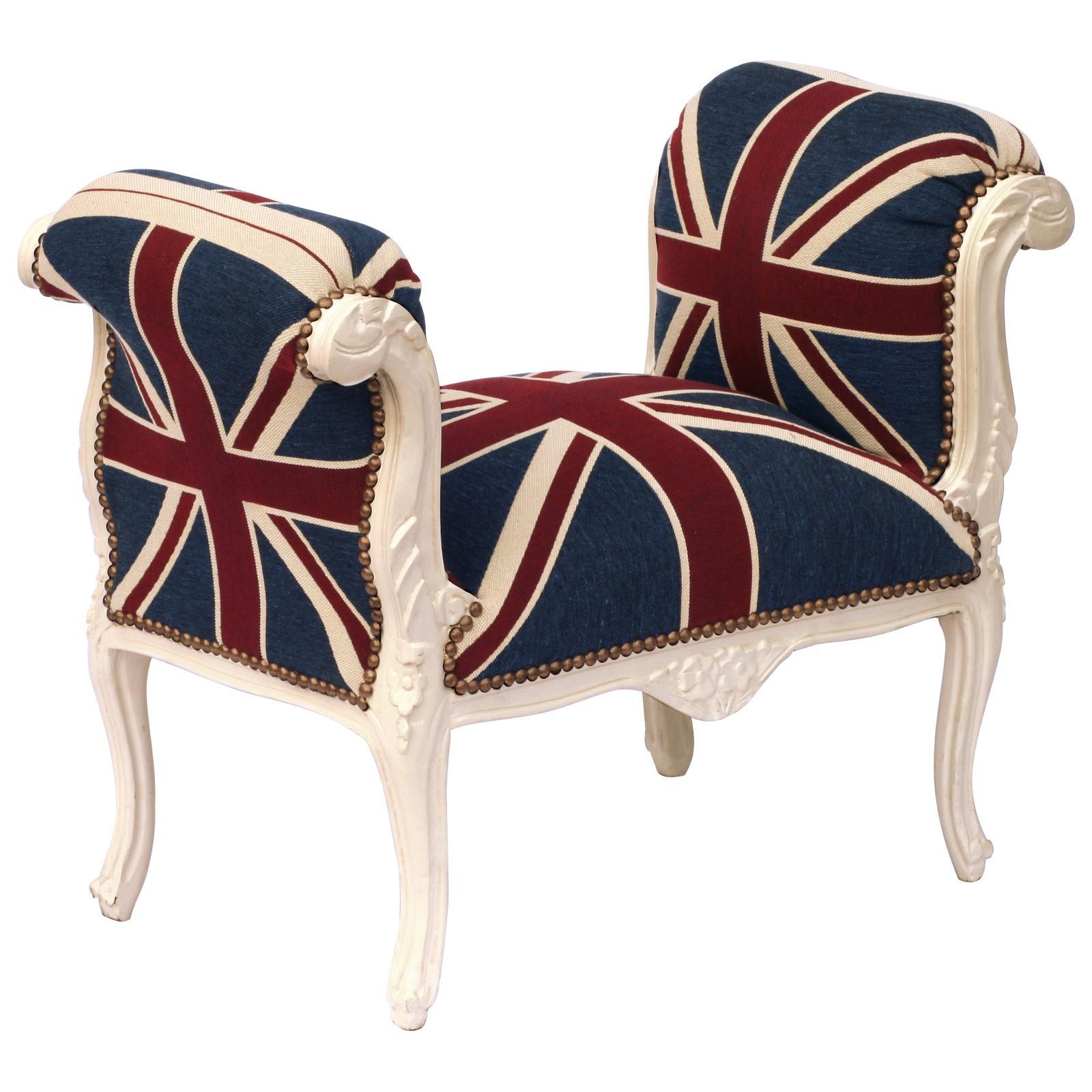 englische sitzbank barock motiv uk flagge stoff massivholz beige hocker armlehne. Black Bedroom Furniture Sets. Home Design Ideas