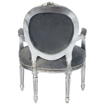 Baroque Style Dining Room Chair Armrest Silver Wood Frame Grey Velvet Cushions – image 4
