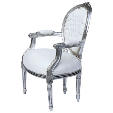 Classic Baroque Medallion Armchair White Leatherette Silver Real Wood Frame – image 2
