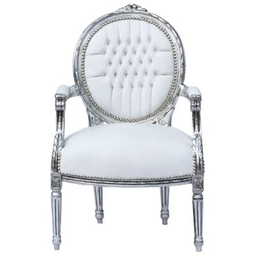 Classic Baroque Medallion Armchair White Leatherette Silver Real Wood Frame – image 1