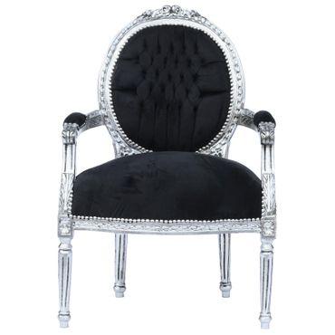 Magnificent Baroque Living Room Chair Black Velvet Silver Solid Wood Frame – image 1