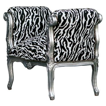 Benches, Hallway bench seat in zebra optic, solid wood silver-leafed frame – image 2