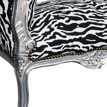 Benches, Hallway bench seat in zebra optic, solid wood silver-leafed frame – image 4