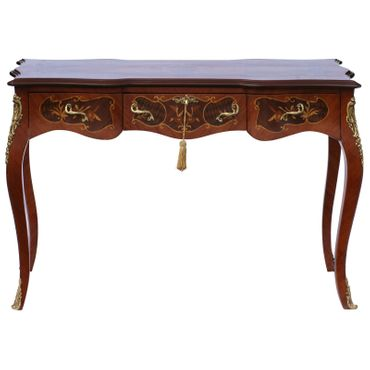 Baroque Retro Table with Drawers Solid Wood Hand Sculpted – image 1