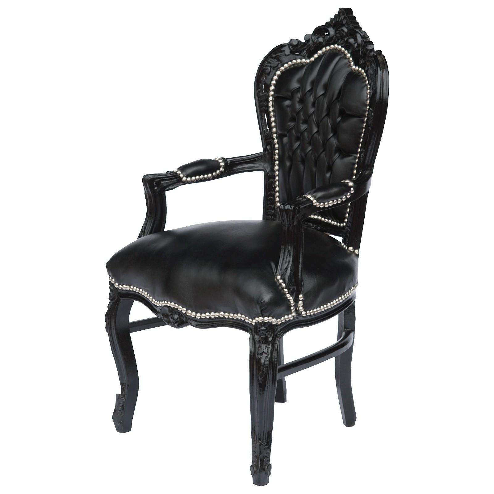 retro armlehnstuhl barock esszimmer gothic style kunstleder holzrahmen schwarz. Black Bedroom Furniture Sets. Home Design Ideas