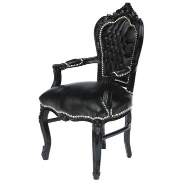 Elegant Black Baroque Dining Room Chair Leatherette Cushions Solid Wood Frame – image 2