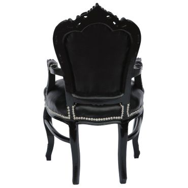 Elegant Black Baroque Dining Room Chair Leatherette Cushions Solid Wood Frame – image 4