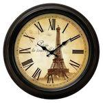 Tour Eiffel tower nostalgic wall clock metal Paris antique look 001