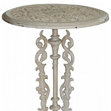 Garden table in iron white with flowers as antique cafe table – image 2