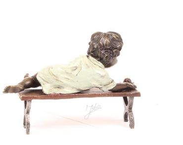 Bronze Child on a Bench Hand Polished 12.6cm – image 2