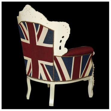 Plump Union Jack Print Throne Armchair White Wood Frame Antique Baroque Style – image 4