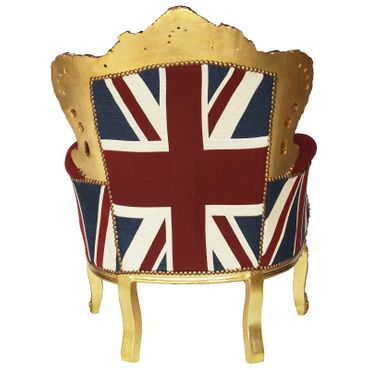 UK Flag Baroque Throne with Golden Frame Solid Wood Living Room Bedroom – image 4